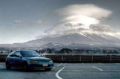 富士山と愛車シビック EG6