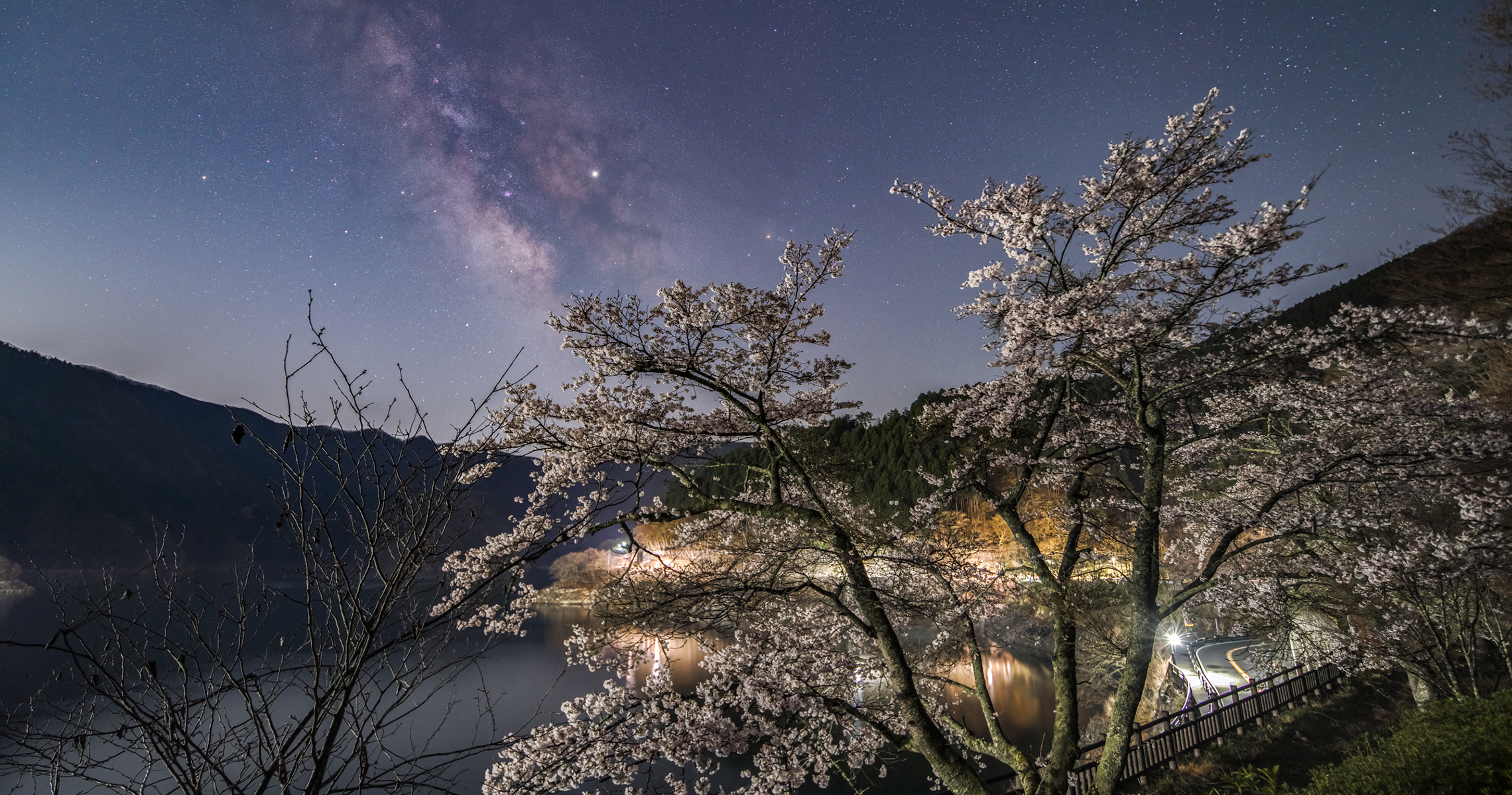 奥多摩湖の桜と天の川2019