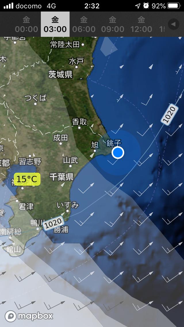 銚子付近の天気図